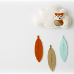 Fox - Pure wool felt Cloud mobile / wall hanging, decoration, nursery, feathers