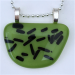 Green Speckled Fused Glass Pendant
