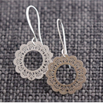 Dainty Round Doilies ~  Silver Drop Earrings