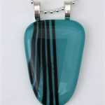 Turquoise Stripes Fused Glass Pendant