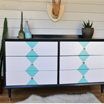 Retro Mid Century Harlequin Six Drawer Chest of Drawers