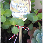 Vintage spoon Plant markers... 'Grow with love,rain & sunshine' READY NOW...