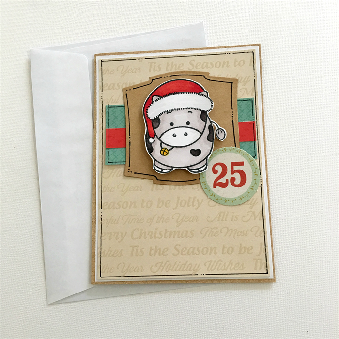 Christmas Card - 25th December- Cow- Cow with Santa Hat | Jessidee ...