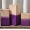 Set of Three Purple Dipped Wooden Candlestick Holder