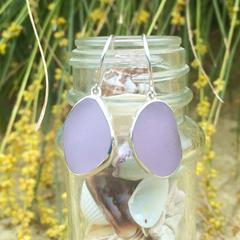 Purple Sea Glass Bezel Set Earrings