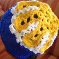 West Coast Eagles Crochet Beanie/Pull on slouch hat - AFL, Soccer, Rugby etc. Ha
