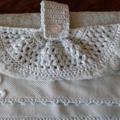 Luxurious Mint Green Hand Towel - Crochet Rose Motif - Faux Pearl Button Centre