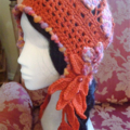 Free Postage Crochet Ear Flap Cloche Lady's/Girl's Winter/Autumn, Flowers/Leaves