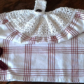 Crochet Top Kitchen/Dish/Tea Towel - White and Red Cotton - Dark Red Crochet Ros