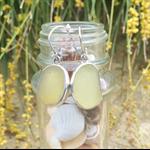 Yellow Sea Glass Bezel Set Earrings