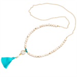 Azure blue Druzy white necklace