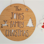 Personalised Family Christmas Door / Wall Hanging / Wreath 19.5cm