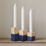 Set of Three Navy Blue Dipped Wooden Candlestick Holder
