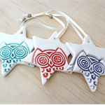 Owl Christmas decorations. Ceramic star ornaments. Teachers gift.