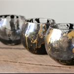 Black & Gold Marbled Glass Tealight Candle Holder Votive Candle Wedding Decor