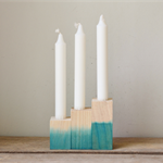 Set of Three Teal Dipped Wooden Candlestick Holder
