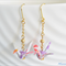 Origami Crane Earrings - Silver with Pink