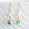 Dry Flower Glass Ball Earrings - Blue with pearls and crystal