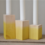 Set of Three Yellow Dipped Wooden Candlestick Holder