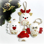 Christmas decoration - pure wool felt woodland, rudolph, hedgehog, owl
