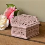 Hand Carved Shabby Chic Dusty Pink Wooden Box