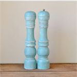 Large Upcycled Rustic Shabby Chic Teal Salt and Pepper Mills
