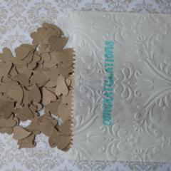 FREE POSTAGE 250 Kraft Heart Confetti for  Weddings &  Valentine's Day