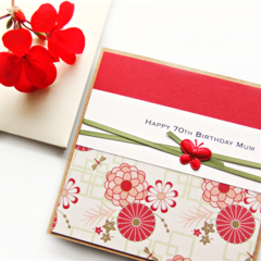 Any Age Birthday Card, Handmade Personalised Red Oriental Florals, Card For Her