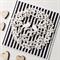 Paper blooms lovebirds wreath black white stripes monochrome love wedding card