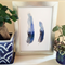 Two Blue Feathers A4 Print from watercolour painting - nature wall art