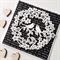 Lovebirds wreath bloom flowers black white words monochrome love engagement card