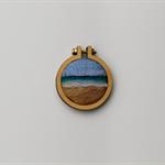 Needle Felted Mini Embroidery Hoop - Sand to Sea