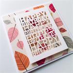 Laser cut happy birthday leaves fall autumn bright friend card