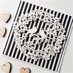 Paper blooms lovebirds wreath black white stripes monochrome love card