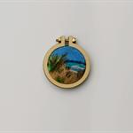 Needle Felted Mini Embroidery Hoop -Ocean Breeze