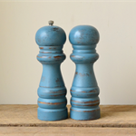 Upcycled Rustic Slate Blue Salt and Pepper Shakers