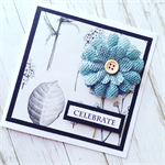 Celebrate congratulations blue burlap flower bloom botanical friend card