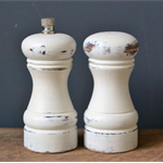 Upcycled Rustic Shabby Chic White Salt and Pepper Mills