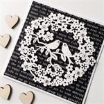 Lovebirds wreath blooms flowers black white words monochrome love wedding card