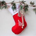 Large Personalised Christmas Stocking Red Christmas Tree