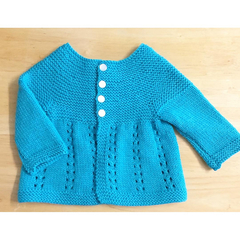 6 - 12 mths, Baby Cardigan,  Turquoise Wool, Hand Knit