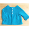 Hand Knit, 6 - 12 months, Wool, Cardigan, Turquoise Blue Green