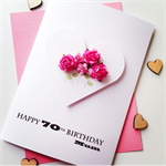 Happy Birthday XLARGE custom love heart pink roses her mum friend female card