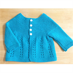 Hand Knit, 6 - 12 months, Wool, Cap Sleeve Cardigan Vest, Turquoise Blue Green