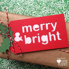 Merry & Bright. Christmas gift tags or swing tags. Red & White with Holly Leaf.