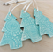 Turquoise Christmas decorations. Ceramic tree ornaments. Teachers gift.