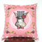Large Pink and Grey Bunny Cushion Cover. Bunny in a Top Hat. Gifts for Kids.