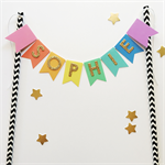 Personalised Cake Topper Bright Rainbow with Gold Glitter