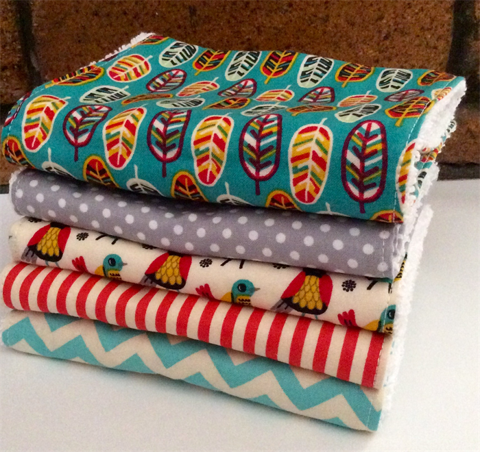 2e94ed3f2753 Baby Burp Cloths, Set of 5, Baby Shower Gift, Unisex Boy Girl, Bright,  Birds | Cub & Cave | madeit.com.au