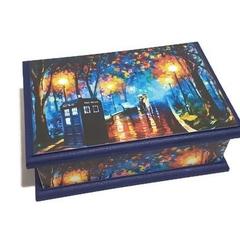 A Doctor's Affair Keepsake Trinket Treasure Jewellery Memory Wooden Box - Blue